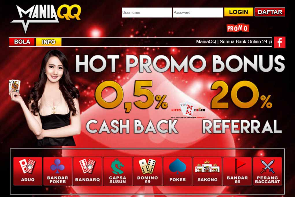 MANIAQQ Situs Poker Online Indonesia, BandarQ & DominoQQ Online